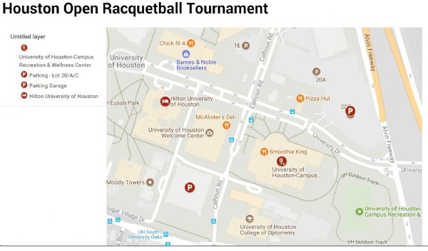 University Of Houston Racquetball Tournament Location and Map