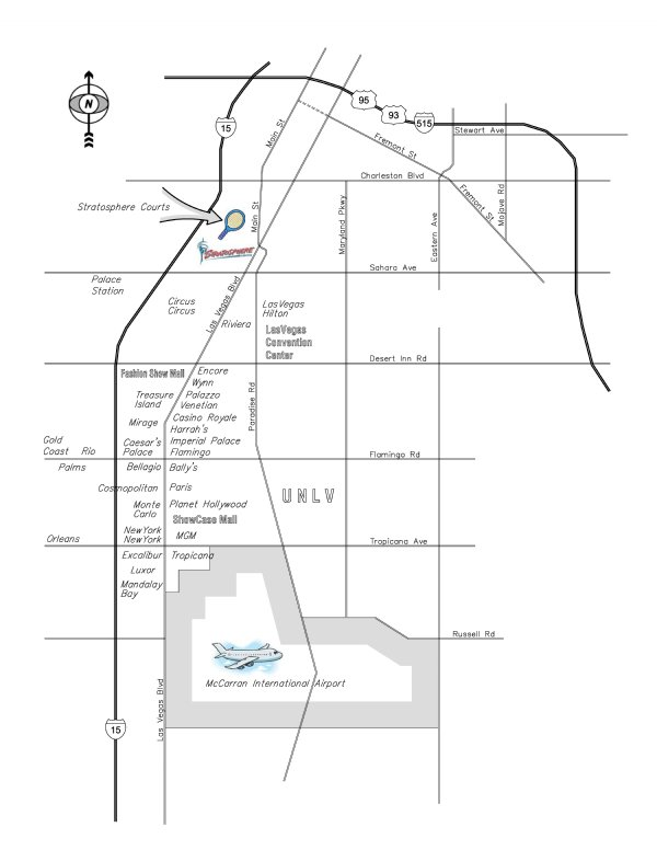 Stratosphere Hotel & Casino  Racquetball Tournament Location and Map