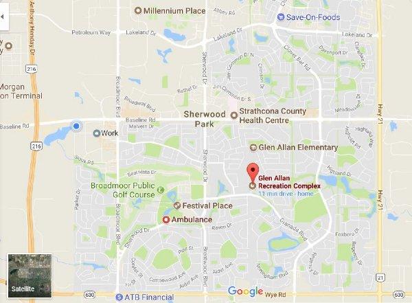 Glen Allan Recreation Complex Racquetball Tournament Location and Map