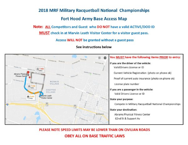 Abrams Physical Fitness Center Racquetball Tournament Location and Map