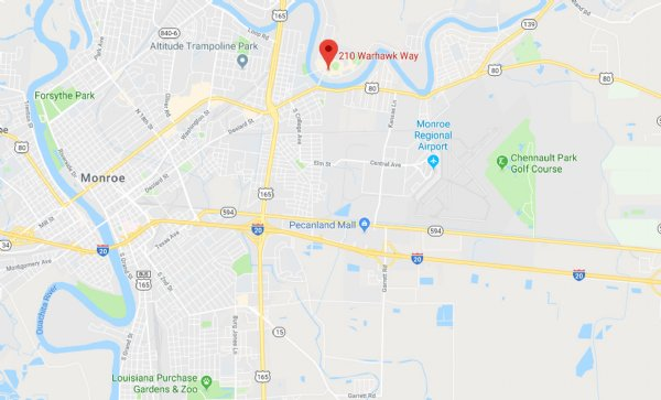 University of Louisiana at Monroe Activity Center Racquetball Tournament Location and Map